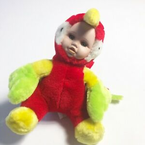 """Show Stopper Doll Babes in the Wild Series 9"""" Plush Toy Porcelain Face Parrot"""