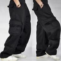 Mens Loose Fit Cargo Baggy Plus Size Casual Long Overalls Hip Hop Trousers Pants