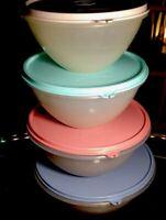 Tupperware NEW VINTAGE Classic Wonderlier Mixing Bowls Set  4 Sizes w/ Seals