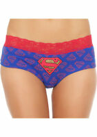 SuperMan Pantie Logo Pattern Medium Boyshort Red Blue Comic Hero Fan Lingerie