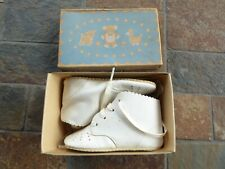 Antique Vintage Baby Booties Shoes Sz 2 White Leather Laced Doll With Box Nib