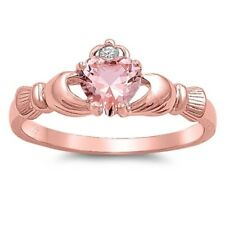 Celtic Claddagh Band Ring Rose Gold Plated Sterling Silver 925 Pink Size 9