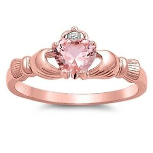 Celtic Claddagh Band Ring Rose Gold Plated Sterling Silver 925 Pink CZ Size 6