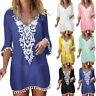 Women Pom Pom Trim Tassel Lace Crochet Swimwear Beach Cover Up Swimsuit Dress