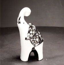 Small White & Silver Ceramic Elephant Ornament Home Decor Christmas Gift