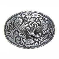 Classic Oval Floral Etched Flying Eagle Belt Buckle Western Engraved Rope Edge