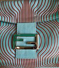Auth.Rare FENDI Waves Leather Flap Baguette Shoulder Hand bag Purse Red Greens