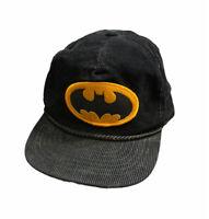VTG BATMAN Logo Zip Back Black Corduroy Hat Cap DC Comics Rope Classic Movie