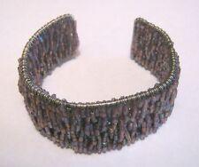 Lovely open backed cuff style bracelet purple mini beads very iridescent