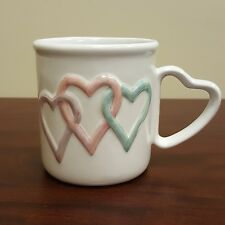 Mary Kay Makeup Cosmetics 3 Loop 3D Heart Coffee Mug Heart Handle