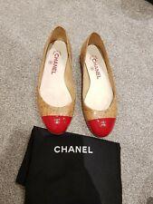 100% Genuine Chanel Flats Ballerina Shoes, Camel Beige Cork Red Toecap, 36, UK 3