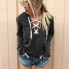 US Women Lace Up Casual Long Sleeve Hoodie Sweatshirt Jumper Pullover Tops Coats