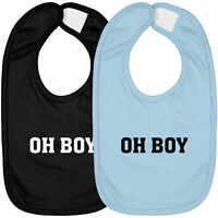 Infant Baby Bib Hook & Loop Closure Shower Gift Letter Funny Oh Boy Funny Quote