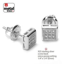 Men's Hip Hop Sterling Silver Bling Mini Square Screw Back Stud Earrings 464 S