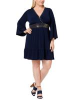 Michael Michael Kors Plus Studded Deep V-Neck Navy Dress, Size 1X, Retail $165