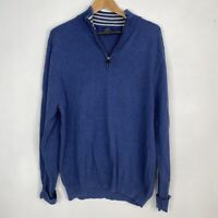 346 BROOKS BROTHERS Men's Large Supima Cotton 1/4 Zip Pullover Sweater Blue