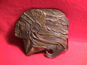 INDIAN CHIEF HEAD NATIVE AMERICAN WESTERN THEMED BRASS BELT BUCKLE
