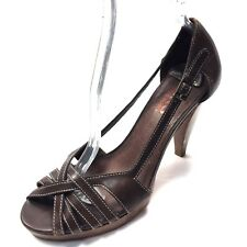 bcba3c80335f Michael Kors Brown Leather Strappy Open Toe Heels Sandals Women s Size ...