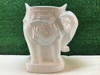 Elephant Plant Stand / Candle Holder White Glazed Ceramic