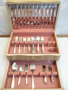 Set 94pcs Wm A Rogers Oneida Always or Wildwood Silver Plate Flatware svc for 12