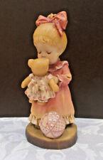 "Anri ""Wake Up Kiss"" Sarah Kay 6"" Woodcarved Girl With Bear Figurine"