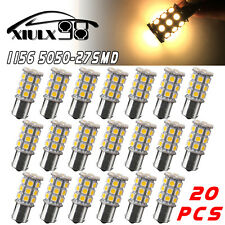 20x Warm White 1156 27 SMD LED Interior Light Bulbs Back Up 4300K 1073 1141