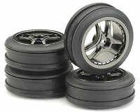 "Ansmann 1/10 Pack of 4 Tyre & Rim ""Drift"" Smoke-Chrome Set # 211000036"