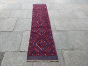 Vintage Hand Made Afghan Mushvani Oriental Red Blue Wool Narrow Runner 251x62cm
