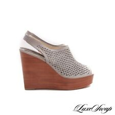 NWOB Coach Chastity Smoke Grey Suede Perforated Platform Wedge Shoes 10 B NR