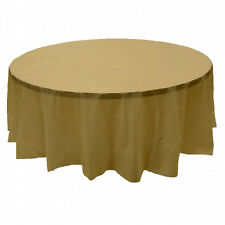 "2 Plastic Round Tablecloths 84"" Diameter Table Cover - Gold"