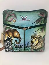 Anuschka Hand Painted Leather Shoulder Cross Body Bag African Safari W/ ID Purse