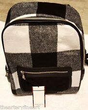 ADAM LIPPES x Target 'Black & White Buffalo Plaid' Shearling Backpack **NWT**