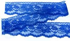Royal Blue~3 Inch Wide Floral Flat Lace Trim~By 5 Yards
