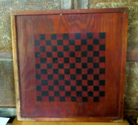Primitive DOUBLE SIDED Star Checkerbord Game Board Folk Art Orig OLD Paint AAFA
