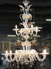 Lampadario in Vetro di Murano - 1016/8+4 Cristallo Oro Fumè -Montatura Oro24k