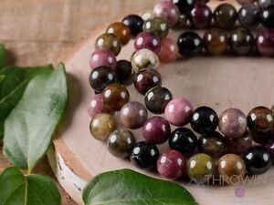 TOURMALINE Crystal Bracelet - Round Beads - Birthstone Handmade Jewelry, E0611