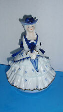 Very Rare! Vtg Lady Figurine Music Box Blue Danube~ Bought in Europe '89-92