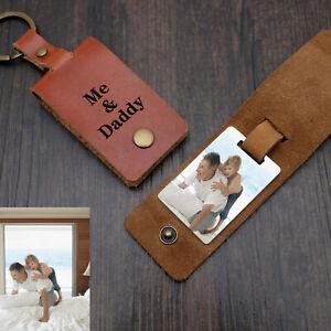 Personalized Leather Keychain Custom Photo Keyring Photo Keychain Gift for Dad