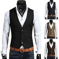 Men's Formal Casual Dress Vest Suit Slim Tuxedo Waistcoat Coat Jacket Blazer USA