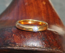 22ct gold Diamond Wedding Engagement band Val $1600 3.3mm Sz O 1/2 US 7 1/4 6gms
