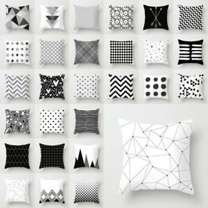 Geometric Cushion Cover Black And White Polyester Throw Square Pillow Case 18in