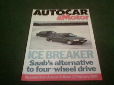 Feb 1989 SAAB 9000 TURBO TRACTION CONTROL AUTOCAR ROAD TEST REPRINT -UK BROCHURE