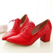 new Women's Patent Leather Shoes Pointy Toe Lace up Block Heel Casual shoes size