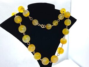 Stunning Antique Victorian 9CT Gold Graduated Honey Banded Agate Bead Necklace