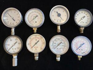 Lot of 8 Miscellaneous Pressure Gauges