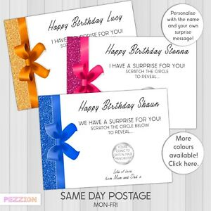 Personalised Scratch Card Reveal Voucher Birthday Surprise Holiday Gift Concert