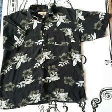 "Mens Size L 46"" Black Floral Hawaiian Shirt by Paradise Blue Short Sleeve"