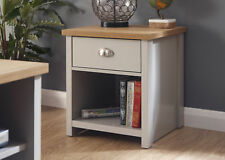 Grey Oak Lamp Table 1 Drawer Bedside Cabinet Metal D Cup Handles Two Tone