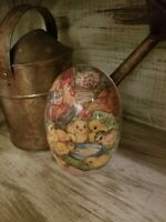 "Gorgeous Rare Antique German Paper Mache Lg 6"" Rabbit Easter Egg Candy Container"