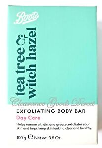 Boots Tea Tree & Witch Hazel Exfoliating Body Bar Day Removes Oil & Dirt 100g